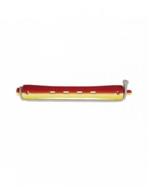 Бигуди для холодной завивки с круглой резинкой Dewal, 70 мм, диаметр 8,5 мм, жёлто-красные, 12 шт