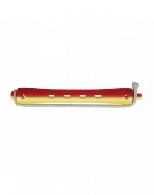 Бигуди для холодной завивки с круглой резинкой Dewal, 95 мм, диаметр 8,5 мм, жёлто-красные, 12 шт
