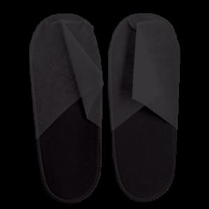 Тапочки спанбонд закрытые, черные, на жесткой подошве, размер универсальный, 1 пара