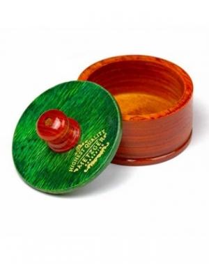 Деревянная чаша для бритья Mizuka с зелёной крышкой