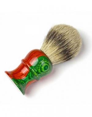 Кисточка для бритья из барсучьего волоса Mizuka Barbering, оранжево-зелёная