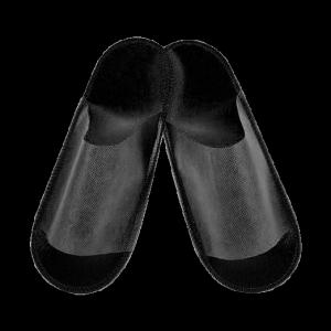 Тапочки спанбонд открытые, черные, на жесткой подошве, размер универсальный, 1 пара