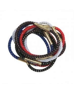 Резинки для волос с серебряной нитью Dewal Mini, цветные, 10 шт