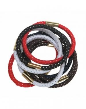 Резинки для волос с серебряной нитью Dewal Maxi, цветные, 10 шт
