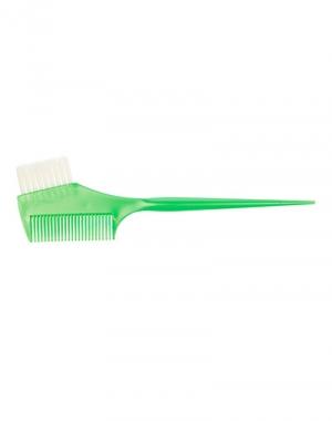 Узкая кисть для окрашивания волос с расчёской и прямой щетиной Dewal, зелёная, 45 мм