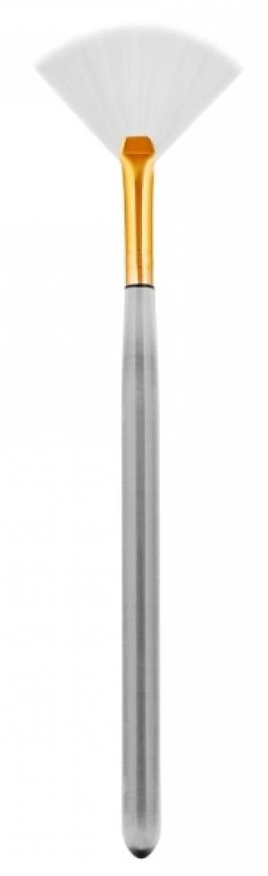 Кисть веерная, косметическая, с натуральной щетиной, белая  ручка, длина 155 мм