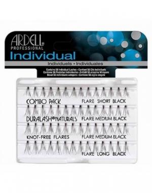 Пучки ресниц Ardell Duralash Naturals Knotfree Flairs Combo Pack Black, безузелковые, комбинированные, чёрные