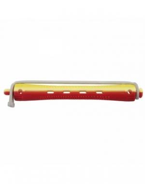 Бигуди для холодной завивки с круглой резинкой Comair, 95 мм, диаметр 9 мм, красно-жёлтые 12 шт
