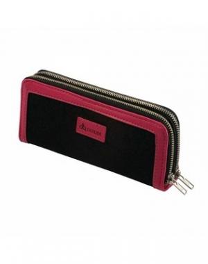 Двойной футляр для ножниц Dewal, полимерный материал, чёрно-розовый, 9х21 см