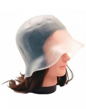 Силиконовая шапочка для мелирования с крючком Dewal, белая