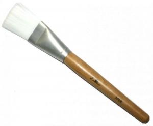 Кисть для масок белая прямая искусственная с деревянной ручкой