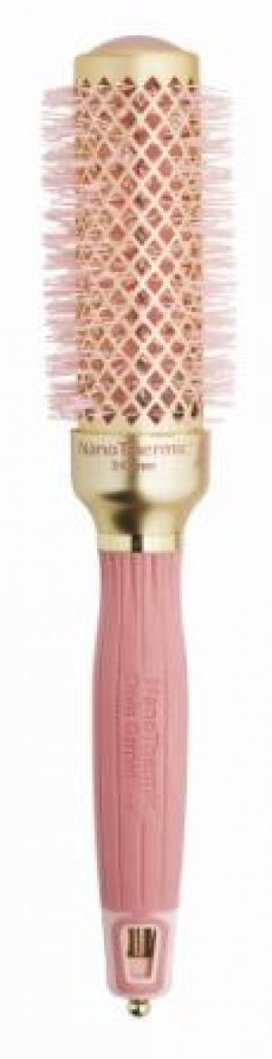 Термобрашинг для укладки волос керамический + ион NanoThermic 34мм розовое золото OLIVIA GARDEN