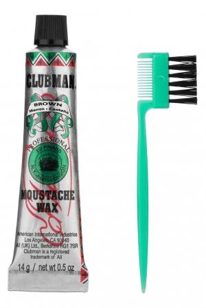 Воск для укладки и подкрашивания бороды с щеточкой (коричневый) Clubman Moustache Wax Brown, 15 мл