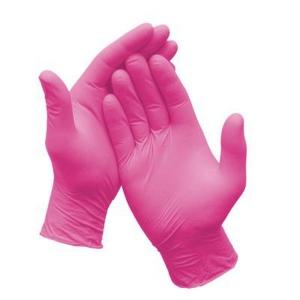 Перчатки нитриловые  фуксия неопудренные ПВХ BENOVY Q  (8-9), 3,6гр, M, уп.100шт